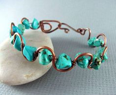Wire Wrapped Bracelet Turquoise and Copper Bracelet Wire Wrapped Jewelry Copper Bangle