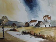 "Original Watercolour & Ink Painting, ""Farmhouse Lane"", English Landscape painting, Countryside watercolour, Home Decor, Gift Idea"