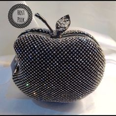 Adorable Apple Clutch This evening clutch is adorable. Crystal covered, clasp leaf closure. Detachable shoulder straps, velvet lined, black metal frame, measures: 6 W X 5 H X 2 D (This closet does it trade or use PayPal) Bags Clutches & Wristlets