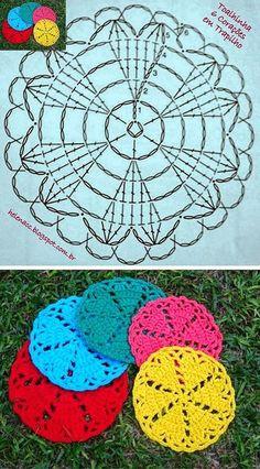 Crochet Heart Coaster Ideas 25 Ideas For 2019 Crochet Circles, Crochet Motifs, Crochet Potholders, Crochet Round, Crochet Chart, Crochet Squares, Crochet Home, Love Crochet, Crochet Gifts