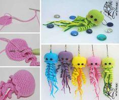 Crochet Jellyfish With Free Pattern Video Instructions Crochet Jellyfish Crochet Home, Cute Crochet, Crochet For Kids, Crochet Crafts, Crochet Projects, Sewing Crafts, Preemie Crochet, Crochet Amigurumi, Crochet Dolls