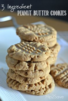 3 Ingredient Peanut Butter Cookies Hip2Save  1 cup peanut butter 1 cup of white sugar  1 egg Bake at 350 for 10-12 minutes