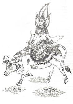 พระศุกร์ทรงโคดำ Buddha Kunst, Buddha Art, Art And Illustration, Tara Goddess, Sculpture Art, Sculptures, Sak Yant Tattoo, Thai Design, Thailand Tattoo