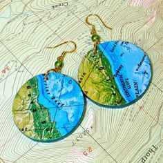 BluKatKraft: Decoupage Map Earrings - DIY Jewelry Tutorial