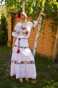 Hand embroidered dress Soul flower ukrainian hand