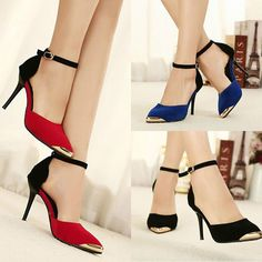 New Women Vintage Ankle Strap Pointed Metal Toe Stiletto High Heels Shoes #New #Strappy