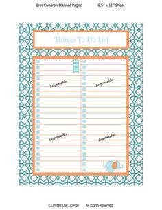 PRINTABLE-Things To Do  List-Erin Condren planner insert-planner mania-life planner-retro