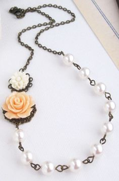 White and Peach Flowers, White Swarovski Pearls Necklace