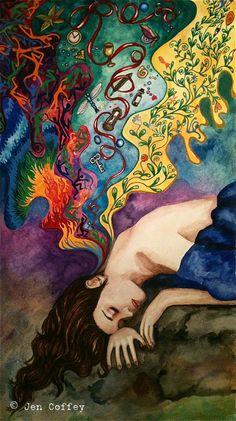 A Thousand Dreams Within Me Softly Burn...   Watercolor   © Jen Coffey