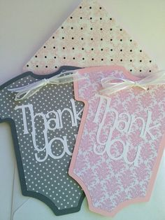 Baby Thank You Cards set of 6 Baby Onesie Cards pink by PaperStrip, $12.00