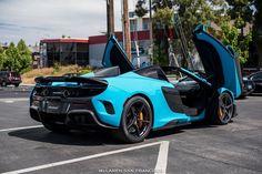Fistral Blue McLaren 675LT Spider Rear View