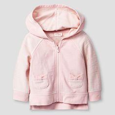 Baby Girls' Bow Pocket Hoodie - Cat & Jack Pink 0-3M, Size: 0-3 M