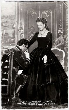 Dutch postcard by Int. Filmpers (I.F.P.), Amsterdam, no. 1535. Publicity still for Sissi – Schicksalsjahre einer Kaiserin/Sissi – Fateful Years of an Empress (1957, Ernst Marischka).  Good-looking Austrian actor Walter Reyer (1922 – 1999) appeared in over 50 films and television shows between 1954 and 1997, but foremost he was a stage actor. For a long time he worked for the famous Burgtheater in Vienna and at the Salzburger Festspielen.  Romy Schneider (1938 - 1982) was one of the most ...