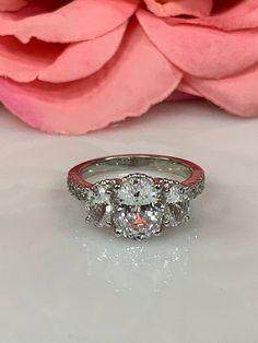 3.40 Ct Three Stone Diamond Wedding Engagement Ring 14k White Gold GP For Womens
