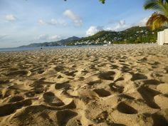 the crisp sand of the beautiful Grand anse beach in Grenada