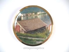 FACE POWDER COMPACT, Boat House on lake or river picture, souvenir style, vintage 1960s 60s era retro vanity beauty, ladies cosmetic accessory, by VintageImageBox