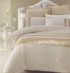 BIANCA Gold Beige Golden Sequins QUEEN/KING Quilt Doona Duvet Cover Set