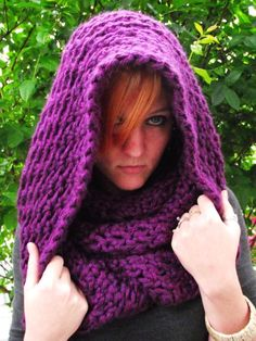 The Assasins Creed-Thick and Soft Purple Convertible Hood, Cowl, Scarf