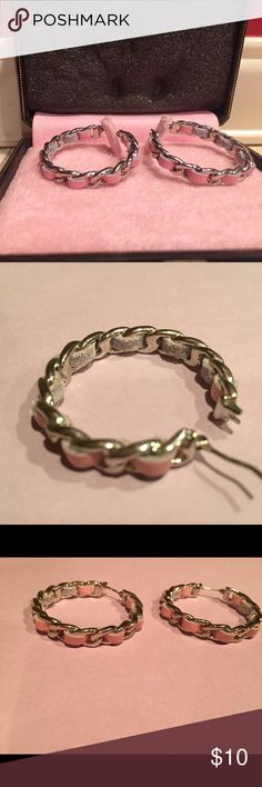 Juicy Couture hoop earrings Worn only once or twice, pink and silver, great condition and super cute! They come in a cute little box Juicy Couture Jewelry Earrings
