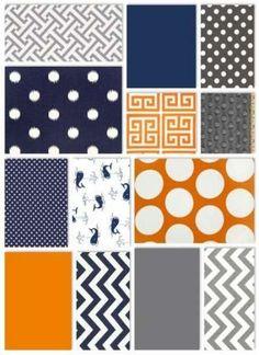 Living room colors blue orange 52 ideas for 2019 Grey And Orange Living Room, Navy Living Rooms, Bedroom Orange, Gray Bedroom, Living Room Colors, Bedroom Colors, Orange Rooms, Orange Quilt, Blue Colour Palette