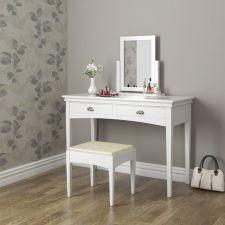 Toaletka biała sekretarzyk z lustrem + stołek