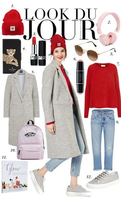 Look Du Jour: Dreitageart. Red sweater+jeans+grey sneakers+grey wool coat+ed beanie+sunglasses+gey panckpack. Fall Casual Outfit 2017