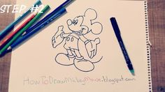 Step By Step Mickey Mouse Drawing Full Body Mickey Mouse Drawings, Step By Step Drawing, Drawing Techniques, Easy Drawings, Full Body, Art, Art Background, Kunst, Performing Arts