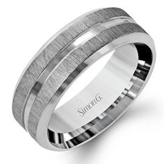 Simon G 14K White Gold Men's Satin Wedding Band With Polished Accent. Style LG152
