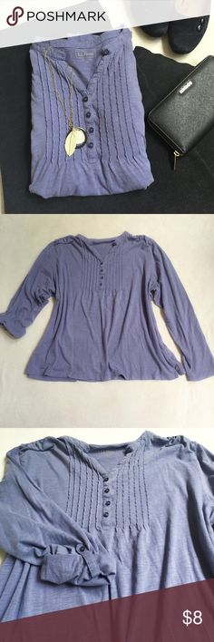 Lavender 3/4 sleeve shirt L.L. Bean. EUC. Can be long sleeve or 3/4. 100% cotton. L.L. Bean Tops Blouses