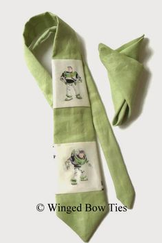 Matching set for dad and son: necktie, bow tie, pocket squares with Buzz Lightyear