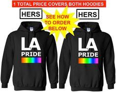 LA PRIDE Hers and Hers Lgbtq Pride Hoodie Equality by ALLGayTees