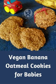 Vegan Banana Oatmeal Cookies for Babies - Laura Rincon - Vegan Banana Oatmeal Cookies for Babies Give your older baby a different texture to taste with this healthy vegan banana oatmeal cookies recipe - also perfect for older kids! Toddler Cookies, Baby Cookies, Cookies For Babies, Toddler Snacks, Teething Cookies, Summer Cookies, Valentine Cookies, Easter Cookies, Birthday Cookies