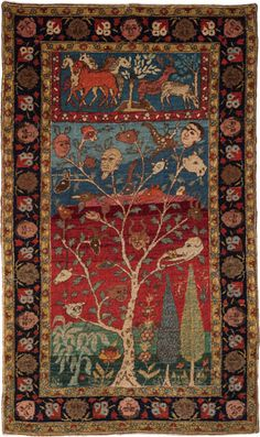 Indian Amritsar figurative rug, Persian Vaq Vaq tree tale, 1870