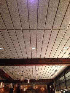 Abuse-resistant, acoustical ceiling panels. Light-weight, fire-rated… Acoustic Ceiling Panels, Bamboo Restaurant, Shape Photography, Office Ceiling, Pavilion Design, Space Interiors, Restaurant Interior Design, Dream Home Design, Sound Proofing