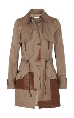f13dab88fb Leather-Trimmed Canvas Trench Coat