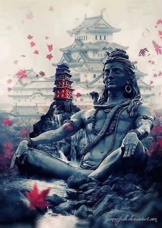 A stunning image of a tranquil Lord Shiva- the burst of colour in the blossoms/leaves gives it a compassionate aura! Shiva Shakti, Mahakal Shiva, Shiva Statue, Lord Shiva Hd Wallpaper, Shiva Angry, Lord Shiva Hd Images, Lord Shiva Pics, Shiva Tattoo, Lord Shiva Painting