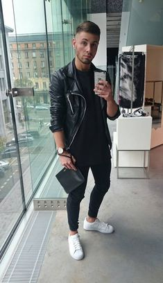 new style 65fb1 a86fa Black And White Outfit For Men, White Shoes Outfit, Black Shoes, Black