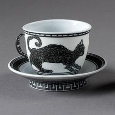 Edward S. Eberle - Cup and Saucer, 1985 - porcelain with black terra sigillata