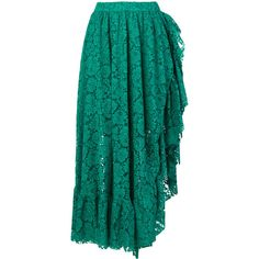 Philosophy Di Lorenzo Serafini lace asymmetric ruffle skirt ($1,125) ❤ liked on Polyvore featuring skirts, green, long blue skirt, long ruffle skirt, elastic waist long skirts, green lace skirt and long lace skirt