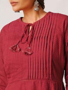 Red Handloom Cotton Kurta by Jaypore