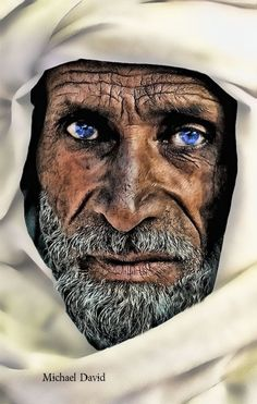 Deep wrinkled Arab man showing such class! Beautiful blue eyes.