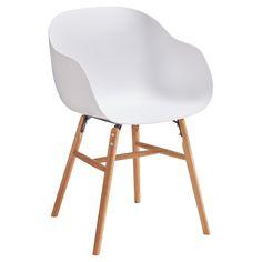 Witte kuipstoel met leuning. Met modern zitje en houten onderstel. Minimalistisch design. 51x53x80 cm (bxlxh). 45.5 cm zithoogte. #kuipstoel #kwantumstijl