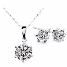 Splendid Solitaires Round Naked Paprika Crystals 2CT Necklace and 1CT Earring Set