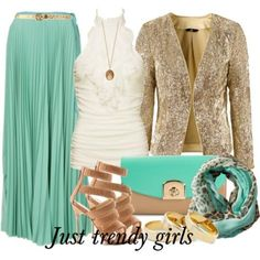 sequin jacket with mint maxi skirt