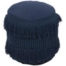 Blue Barclay Round Hand Woven Cotton Ottoman