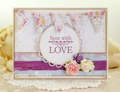 Inspired by Stamping Small Fancy Labels 3 Stamp Set, card, shabby chic card, banners, flowers, friend card, love card