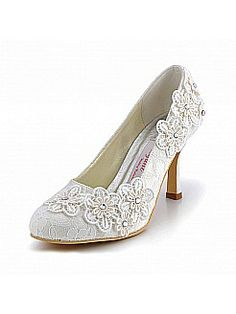 High Heels Lace Wedding Pumps with Appliques - USD $72.99