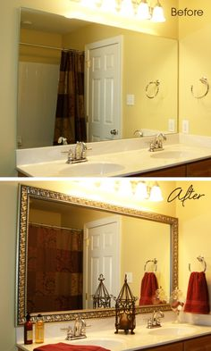 An easy DIY project for any homeowner: add a MirrorMate frame to the plate glass bathroom mirror to update the space in minutes.