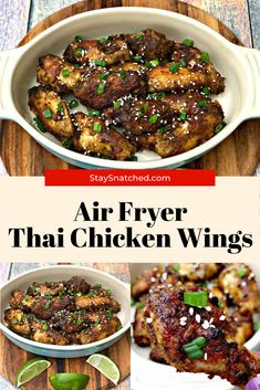 These Easy Thai Chicken Wings are seasoned with a dry rub and then baked to get them crispy. The wings are then drizzled in a sweet and spicy chili sauce and baked again to soak in the flavor. Fried Chicken Wings, Thai Chicken, Breaded Chicken, Air Fry Recipes, Air Fryer Recipes Easy, Healthy Recipes, Healthy Food, Air Fryer Healthy, Spicy Chili