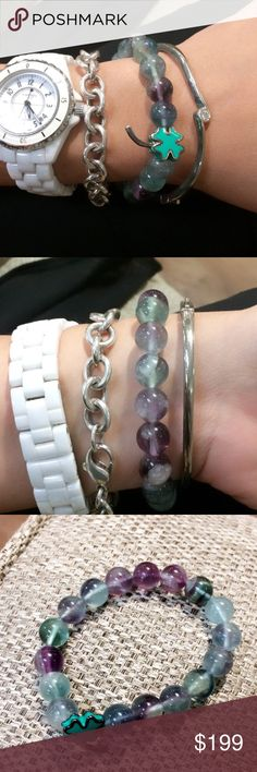 Beaded jade w/ really clear transparency bracelet Excellent condition with a cute lucky 4 leaf clover charm.  Final sale trade value higher 💯 authentic natural jade Jewelry Bracelets